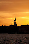 St Michaels church steeple sunset charleston south carolina