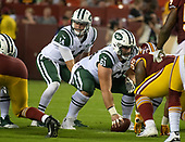 New York Jets quarterback Sam Darnold (14) calls signals in the first quarter against the Washington Redskins at FedEx Field in Landover, Maryland on Thursday, August 16, 2018. Center Spencer Long (61) waits to snap the ball.<br /> Credit: Ron Sachs / CNP<br /> (RESTRICTION: NO New York or New Jersey Newspapers or newspapers within a 75 mile radius of New York City)