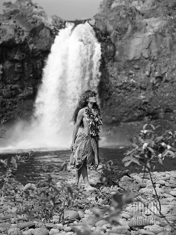 Young Hawaiian girl, Wai'ale Falls on the Wailuku river near Hilo.