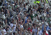 31/05/2002.Sport -Cricket - 2nd NPower Test -Second Day.England vs Sri Lanka.Crowds throw paper into the air as they complete the 'Mexican Wave' [Mandatory Credit Peter Spurrier:Intersport Images]