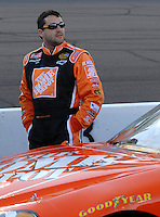 Apr 19, 2007; Avondale, AZ, USA; Nascar Nextel Cup Series driver Tony Stewart (20) during qualifying for the Subway Fresh Fit 500 at Phoenix International Raceway. Mandatory Credit: Mark J. Rebilas