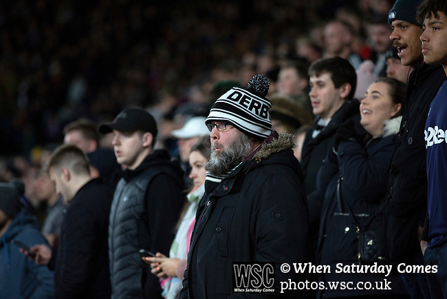 Home fans watching the second-half action as Derby County (in white) played Stoke City in an EFL Championship match at Pride Park Stadium. Opened in 1997, it is the 16th-largest football ground in England and the 20th-largest stadium in the United Kingdom. The fixture ended in a 0-0 draw watched by a crowd of 25,685.