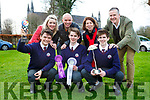 St Brendans College students l-r: Oran O'Donoghue, James and Harry Knoblauch celebrate after their project 'An Investigation into Conformity and how minorities can influence it' won at the BT Young Scientist of the year competition Back row: Marie Vaughan Teacher, Paudie O'Donoghue, Mary and Joe Knoblauch