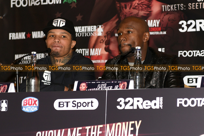 Gervonta Davis (L) and Floyd Mayweather during a Press Conference at the Landmark Hotel on 18th May 2017