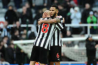 Jamaal Lascelles of Newcastle United and Jonjo Shelvey of Newcastle United celebrate after the final whistle during Newcastle United vs Manchester United, Premier League Football at St. James' Park on 11th February 2018