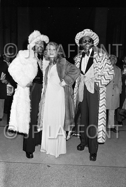 Manhattan, New York City, NY - January 28, 1974 <br /> Just before the beginning of the second match between Ali and Frazier, dandies exhibit their finest clothes in a sort of a pre-match fashion show.