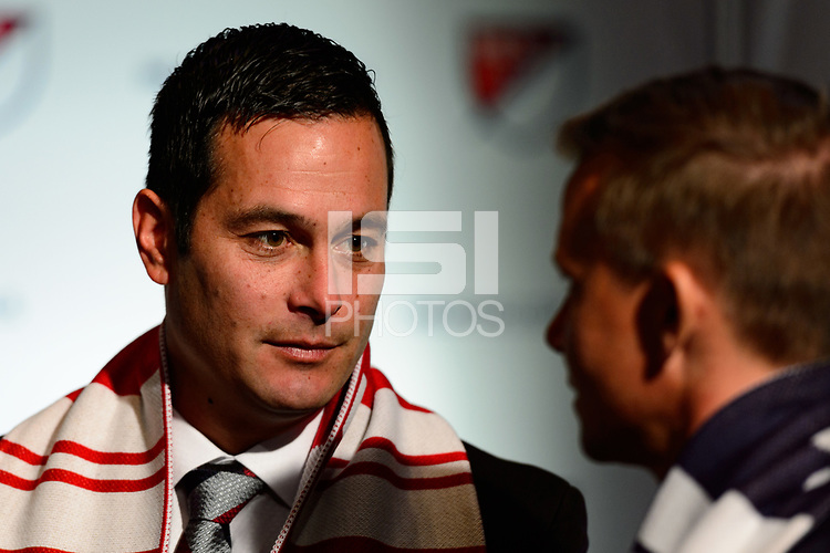 Philadelphia, PA - Friday January 19, 2018: Mike Petke during the 2018 MLS SuperDraft at the Pennsylvania Convention Center.