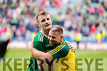 Tom O'Sullivan, Kerry and Jason McGahan (Head of Athletic Development) celebrate after the All Ireland Senior Football Semi Final between Kerry and Tyrone at Croke Park, Dublin on Sunday.