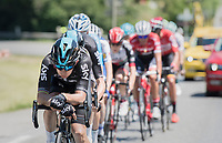 Michal Kwiatkowski (POL/SKY) emptying the tank to get team leader Chris Froome (GBR/SKY) safely (and hopefully ahead) at the foot of the final (finish) climb of the day: the Plateau de Solaison (HC/1508m/11.3km @9.2%)<br /> <br /> 69th Critérium du Dauphiné 2017<br /> Stage 8: Albertville > Plateau de Solaison (115km)