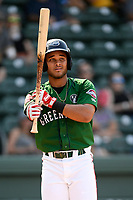 Third baseman Brandon Howlett (35) of the Greenville Drive bats in a game against the West Virginia Power on Sunday, May 19, 2019, at Fluor Field at the West End in Greenville, South Carolina. Greenville won, 8-4. (Tom Priddy/Four Seam Images)