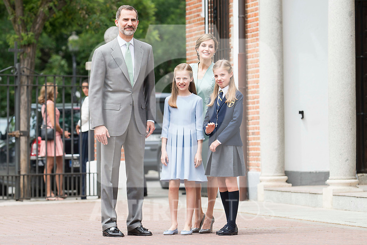 King Felipe VI, Princess Sofia, Queen Letizia and Princess Leonor during the First Communion of princess Sofia at Asuncion de Nuestra Senora Church in Madrid, May 17, 2017. Spain.<br /> (ALTERPHOTOS/BorjaB.Hojas)