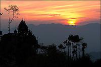 Himalaya sunset. Nagarkot, Nepal.