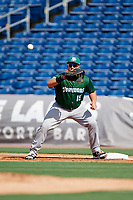 Daytona Tortugas first baseman James Vasquez (15) waits to receive a throw during the first game of a doubleheader against the Clearwater Threshers on July 25, 2017 at Spectrum Field in Clearwater, Florida.  Daytona defeated Clearwater 4-1.  (Mike Janes/Four Seam Images)