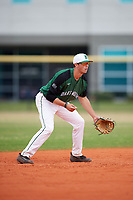 Dartmouth Big Green shortstop Nate Ostmo (19) during a game against the Southern Maine Huskies on March 23, 2017 at Lake Myrtle Park in Auburndale, Florida.  Dartmouth defeated Southern Maine 9-1.  (Mike Janes/Four Seam Images)