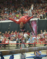 NWA Democrat-Gazette/ANDY SHUPE<br /> Arkansas' Hailey Garner competes in the beam Saturday, Jan. 5, 2019, during the Razorbacks' meet with No. 2 Oklahoma in Barnhill Arena in Fayetteville. Visit nwadg.com/photos to see more photographs from the meet.