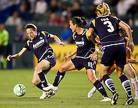 LA Sol midfielder Liz Bogus moves with the ball as teammates Brittany Bock and Allison Falk follow. The LA Sol defeated Sky Blue FC 1-0 at Home Depot Center stadium in Carson, California on Friday May 15, 2009.   .