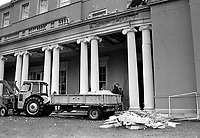 Tractor & trailer loaded up with debris from Provisional IRA explosion at the home of the Earl of Caledon, Caledon, Co Tyrone, N Ireland, 10th November 1972. The Earl of Caledon is a member of the UDR, Ulster Defence Regiment. 197211100737a.<br /> <br /> Copyright Image from Victor Patterson, 54 Dorchester Park, Belfast, UK, BT9 6RJ<br /> <br /> t1: +44 28 9066 1296 (from Rep of Ireland 048 9066 1296)<br /> t2: +44 28 9002 2446 (from Rep of Ireland 048 9002 2446)<br /> m: +44 7802 353836<br /> <br /> e1: victorpatterson@me.com<br /> e2: victorpatterson@gmail.com<br /> <br /> The use of my copyright images is subject to my Terms & Conditions.<br /> <br /> It is IMPORTANT that you familiarise yourself with them. They are available on my website at www.victorpatterson.com.<br /> <br /> None of my copyright images may be used on a website unless they are visibly watermarked, i.e. © Victor Patterson within the body of the visible image. Metadata denoting my copyright must NOT be deleted. <br /> <br /> Web use is extra at currently recommended NUJ rates.