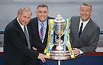 William Hill Scottish Cup 5th Round draw. Hampden Park: Alan McRae (Scottish FA Vice President), Owen Coyle and Eddie Thompson (William Hill)