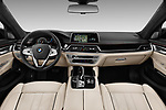 Stock photo of straight dashboard view of 2018 BMW 7-Series-Plug-In-Hybrid 740Le-iPerformance 4 Door Sedan Dashboard