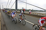 The peloton includinh Thibaut Pinot (FRA) FDJ and Romain Bardet (FRA) Team Sunweb cross Theodor-Heuss-Bridge over the River Rhine during Stage 2 of the 104th edition of the Tour de France 2017, running 203.5km from Dusseldorf, Germany to Liege, Belgium. 2nd July 2017.<br /> Picture: Eoin Clarke | Cyclefile<br /> <br /> <br /> All photos usage must carry mandatory copyright credit (&copy; Cyclefile | Eoin Clarke)