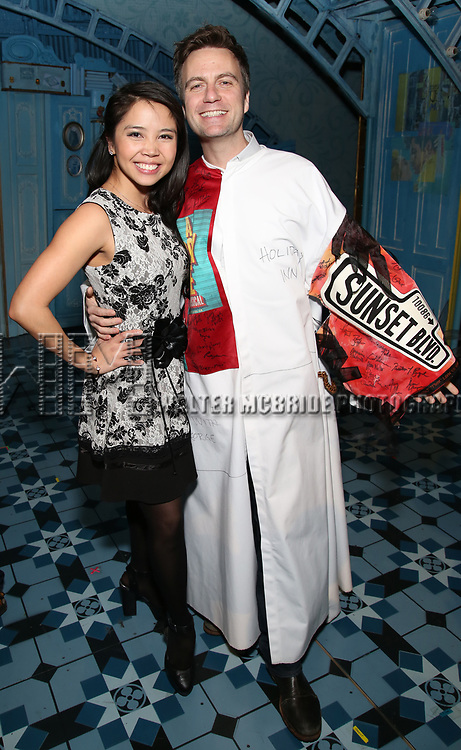 Catherine Ricafort and Manoel Felciano during the Actors' Equity Broadway Opening Night Gypsy Robe Ceremony honoring Manoel Felciano for 'Amelie' at the Walter Kerr Theatre on April 3, 2017 in New York City