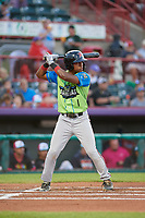 Las Ardillas Voladoras de Richmond Jalen Miller (1) at bat during an Eastern League game against the Erie Piñatas on August 28, 2019 at UPMC Park in Erie, Pennsylvania.  Richmond defeated Erie 4-3 in the second game of a doubleheader.  (Mike Janes/Four Seam Images)