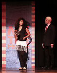 Aiesha Alia Dukes and Mitchel Kawash perform onstage during the 'ME THE PEOPLE: The Trump America Musical' Press Preview Presentation at The Triad Theater on June 21, 2017 in New York City.