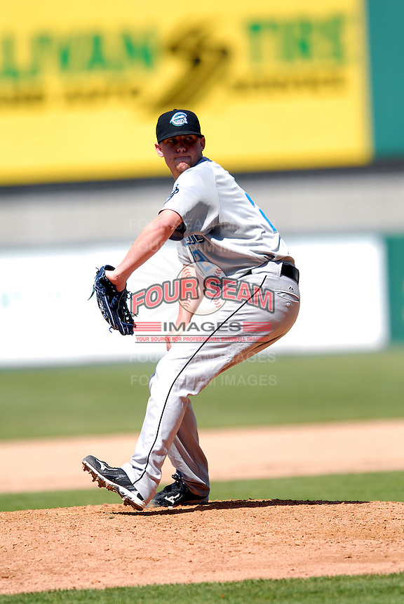 RHP Drew Storen of the Syracuse Chiefs in action vs. the Pawtucket Red Sox at McCoy Stadium in Pawtucket, RI on May 16, 2010 (Photo by Ken Babbitt/Four Seam Images)