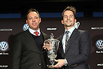 05 December 2013: Mike Magee (right) poses with the MLS MVP Trophy and MLS executive Todd Durbin (left). Major League Soccer held a press conference announcing Mike Magee, of the Chicago Fire as the winner of the 2013 MLS Most Valuable Player award at the Three Points Club in Kansas City, Missouri.