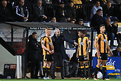 3rd October 2017, The Abbey Stadium, Cambridge, England; Football League Trophy Group stage, Cambridge United versus Southampton U21; Cambridge United Manager Shaun Derry gives out instructions to Liam O'Neil of Cambridge United