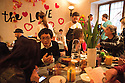 Tetsuo Mukai, Japanese designer founder of of Study O Portable, speaks with journalists during a breakfast at Ristorante Marta, MIlan April 12, 2016. On the table are visible: (center) Balena, a large carafe of glass on marble stand by Dorsofiorito design studio, a little carafe by designer Jochen Holz and the Herringbone vase by Phil Cuttance. At this restaurant for Salone del mobile 2016, Airbnb have organized Makers &amp; Bakers, an experiential installation curated by creative director Ambra Medda, where the press meet young design talent. &copy; Carlo Cerchioli<br /> <br /> Tetsuo Mukai, designer giapponese fondatore dello studio O Portable, parla con i giornalisti durante una colazione al ristorante Marta, Milano 12 aprile, 2016. Sul tavolo sono visibili: (al centro) Balena, una grande caraffa di vetro su supporto di marmo dello studio di design Dorsofiorito, una piccola caraffa del designer Jochen Holz e il vaso Herringbone del designer Phil Cuttance. In questo ristorante per il Salone del mobile, Airbnb ha organizzato Makers &amp; Bakers una installazione esperienziale curata da Ambra Medda dove la stampa pu&ograve; incontrare alcuni giovani talenti del design internazionale 2016.