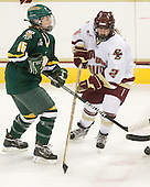 Hannah Westbrook (Vermont - 15), Kristina Brown (BC - 2) - The University of Vermont Catamounts defeated the Boston College Eagles 5-1 on Saturday, November 7, 2009, at Conte Forum in Chestnut Hill, Massachusetts.