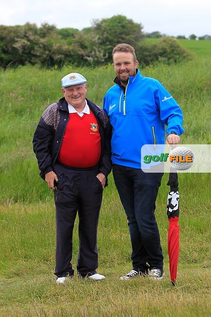 Olan Allan (President Co.Louth GC) and Shane Lowry (IRL) on the 18th during Round 3 of the East of Ireland in the Co. Louth Golf Club at Baltray on Monday 2nd June 2014.<br /> Picture:  Thos Caffrey / www.golffile.ie