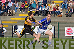 Declan Quill Kerins O'Rahillys is tackled by John Payne Dr Crokes in the Divison 1 league final in Killarney on Sunday