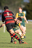 Lage Fasavalu makes a run at Sam Henwood. Counties Manukau Premier Club Rugby game between Pukekohe and Papakura, played at Colin Lawrie Fields Pukekohe on Saturday June 9th 2018. Pukekohe won the game 37 - 22 after leading 15 - 10 at halftime. <br /> Photo by Richard Spranger.