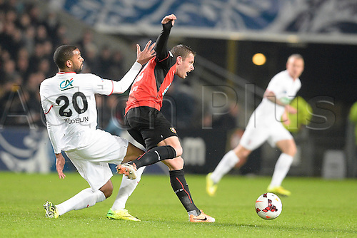 27.03.2014 Rennes, France. Sylvain Armand (Rennes) vs Ronny RODELIN (lille) in action during the Coupe de France quarter final match between Rennes and Lille. Rennes won the match 2-0.