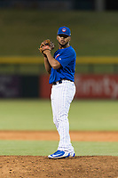 AZL Cubs 1 relief pitcher Fauris Guerrero (41) gets ready to deliver a pitch during an Arizona League playoff game against the AZL Rangers at Sloan Park on August 29, 2018 in Mesa, Arizona. The AZL Cubs 1 defeated the AZL Rangers 8-7. (Zachary Lucy/Four Seam Images)