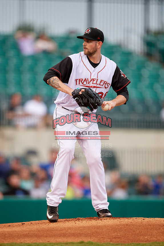 Arkansas Travelers starting pitcher James Paxton (38) delivers a pitch during a game against the Frisco RoughRiders on May 26, 2017 at Dickey-Stephens Park in Little Rock, Arkansas.  Arkansas defeated Frisco 4-2.  (Mike Janes/Four Seam Images)