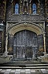 Ancient door on Cambridge University college, england