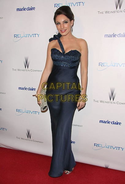 KELLY BROOK.Relativity Weinstein Company 68th Annual Golden Globe Awards After Party Presented by Marie Claire held at the Beverly Hilton, Beverly Hills, California, USA..January 16th, 2011.full length black purple blue navy one shoulder clutch bag silver print dress maxi  .CAP/ADM/TB.©Tommaso Boddi/AdMedia/Capital Pictures.