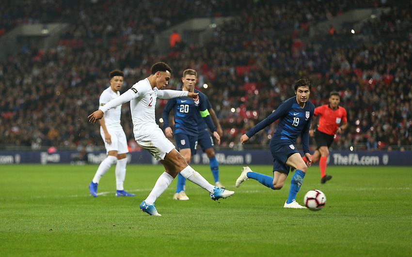 England's Trent Alexander-Arnold scores his side's second goal <br /> <br /> Photographer Rob Newell/CameraSport<br /> <br /> The Wayne Rooney Foundation International - England v United States - Thursday 15th November 2018 - Wembley Stadium - London<br /> <br /> World Copyright © 2018 CameraSport. All rights reserved. 43 Linden Ave. Countesthorpe. Leicester. England. LE8 5PG - Tel: +44 (0) 116 277 4147 - admin@camerasport.com - www.camerasport.com