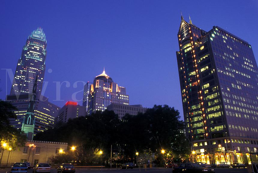 Charlotte, skyline, NC, North Carolina, Skyline of downtown Charlotte.