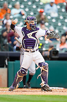 Texas Christian Horned Frogs catcher Kyle Bacak #6 throws the ball back to his pitcher during the game against the Sam Houston State Bearkats at Minute Maid Park on February 28, 2014 in Houston, Texas.  The Bearkats defeated the Horned Frogs 9-4.  (Brian Westerholt/Four Seam Images)