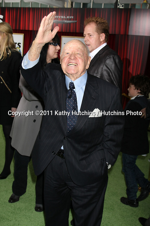 "LOS ANGELES - NOV 12:  Mickey Rooney arrives at the ""Muppets"" World Premiere at El Capitan Theater on November 12, 2011 in Los Angeles, CA"