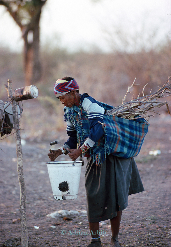 An elderly San woman carrying  water and firewood  , Tchumkwe, Bushman land, Namibia.