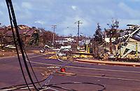 Destruction in Lihue ten days after Hurricane Iniki
