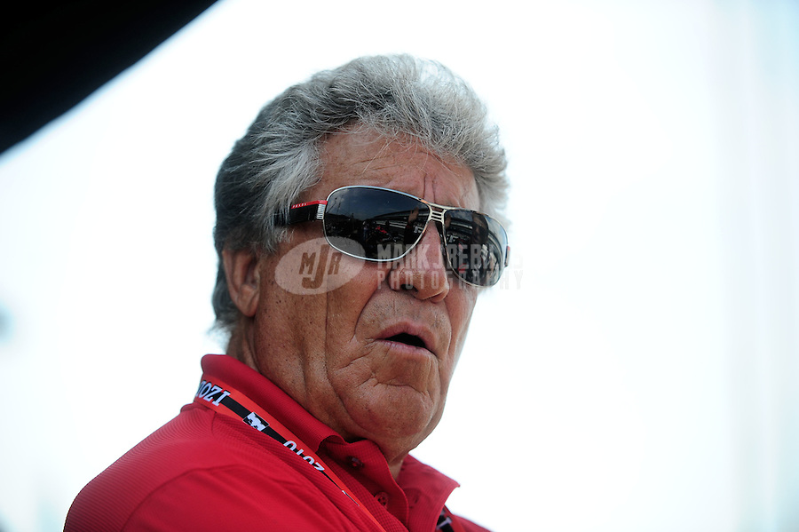 May 28, 2010; Indianapolis, IN, USA; IndyCar Series former driver Mario Andretti during carb day prior to the Indianapolis 500 at the Indianapolis Motor Speedway. Mandatory Credit: Mark J. Rebilas-