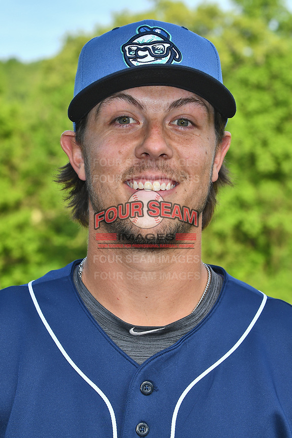 Asheville Tourists third baseman Danny Edgeworth (16) before a game against the Hagerstown Suns at McCormick Field on April 30, 2019 in Asheville, North Carolina. The Tourists defeated the Suns 5-4. (Tony Farlow/Four Seam Images)