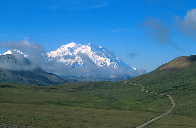 "Mt. McKinley from Stony Hill, Denali National Park, Alaska.Note:  The name ""Mt. Mckinley"" was first changed to ""Denali"", then changed back to ""Mt. McKinley"", with the National Park name to remain as ""Denali National Park""."