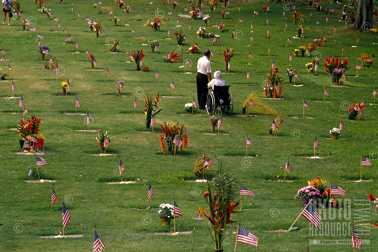 Visitors at Punchbowl National Cemetery on Memorial Day